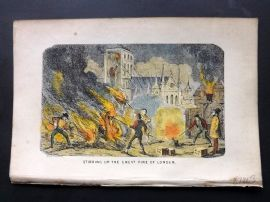 Cruikshank C1860 HCol Satire Print. Stirring up the Great Fire of London